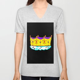 A Royal Gold Crown with Black Background Unisex V-Neck