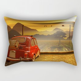 Vintage Car In The Sunset Rectangular Pillow