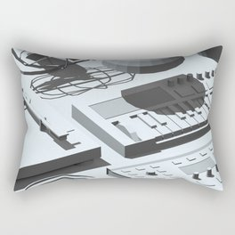 Low Poly Studio Objects 3D Illustration Grey Rectangular Pillow