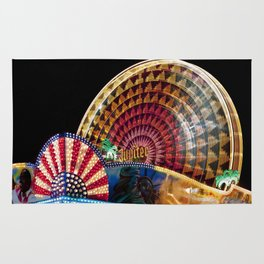 Brightly Colored Ferris Wheel at Night Rug