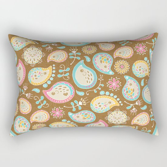 Hedgehog Paisley_Colors and Cocoa Rectangular Pillow