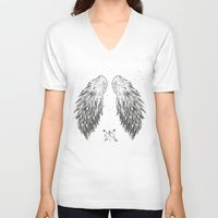 wings V-neck T-shirts featuring wings by Julia