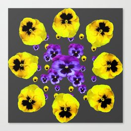 YELLOW & PURPLE PANSY FLOWERS FLOATING ON CHARCOAL Canvas Print