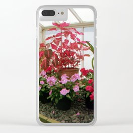 Pink Plants Clear iPhone Case
