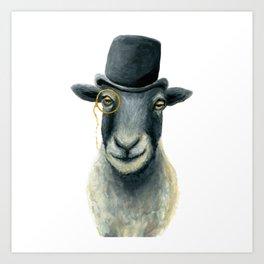 Dapper Sheep // Hand Painted Sheep in Bowler Hat Art Print