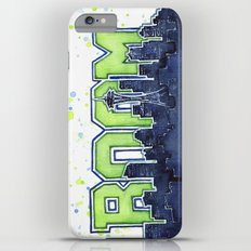 Seattle Legion of Boom Space Needle Skyline Watercolor Slim Case iPhone 6 Plus