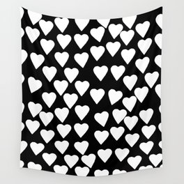 Hearts White on Black Wall Tapestry
