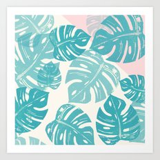 Linocut Monstera Rosy Art Print