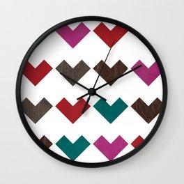 leather geometric love on white Wall Clock