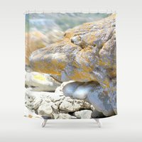 rocky Shower Curtains featuring Rocky Tocky by CrismanArt