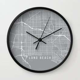 Long Beach Map, California USA - Pewter Wall Clock