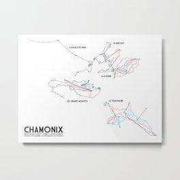 Chamonix, Haute-Savoie, FRA - European Edition (Labeled) - Minimalist Trail Art Metal Print