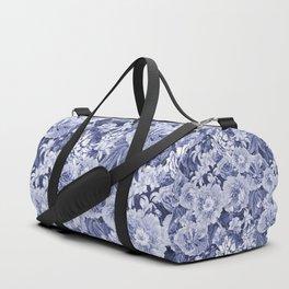 Nostalgic Blue Flower Pattern Duffle Bag