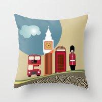 england Throw Pillows featuring London England by Lanre Studio