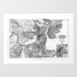 Vintage Map of Boston Massachusetts (1871) BW Art Print