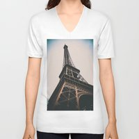 eiffel tower V-neck T-shirts featuring Eiffel Tower by Christine Workman