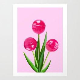 LOLLIPOP TULIPS PINK Art Print