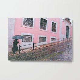 Pink architecture Lisbon Portugal street photography Metal Print