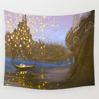 tangled Wall Tapestries featuring Tangled by carotoki art and love