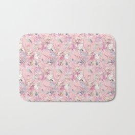 Watercolor floral botanical pastel pink delicate pattern Bath Mat