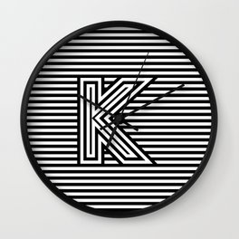 Track - Letter K - Black and White Wall Clock