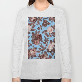 Copper and Blue Vintage Roses on Sky Blue Long Sleeve T-shirt