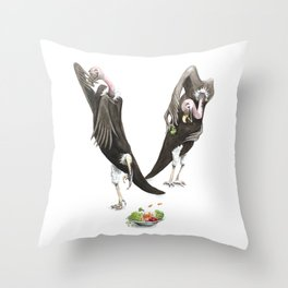 V is for Vultures who don't eat their Veggies! Watercolor ABC Animals - Laugh-A-Bit Alphabet Throw Pillow