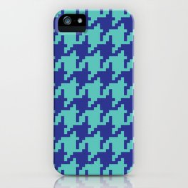 Houndstooth - Blue & Turquoise iPhone Case