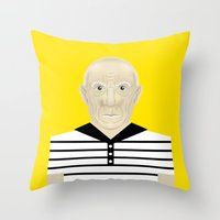 pablo picasso Throw Pillows featuring Pablo Picasso by Matteo Lotti