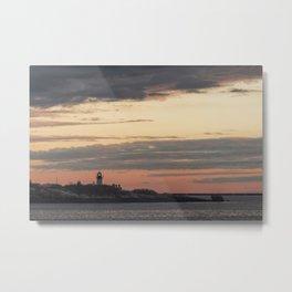 Painted sky over ten pound island light Metal Print