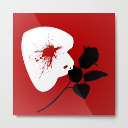 Red Mask and Rose Metal Print