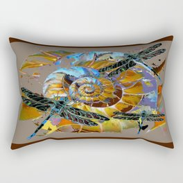 Black Dragonflies Brown-Grey-Opal Color Spiral Abstract Rectangular Pillow