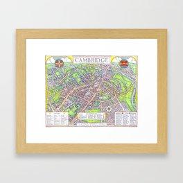 CAMBRIDGE University map ENGLAND Framed Art Print