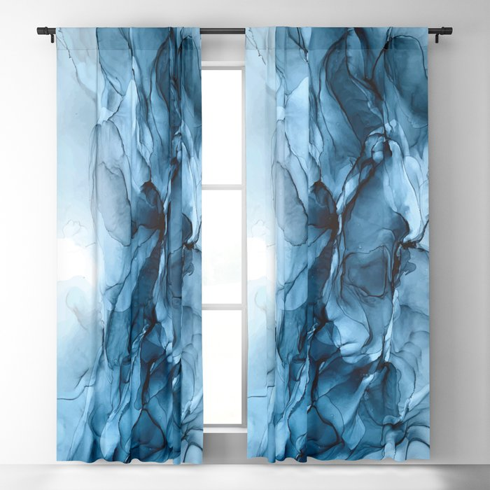 Deep Blue Flowing Water Abstract Painting Blackout Curtain