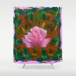 LEAFY PINK ROSE GARDEN & COFFEE BROWN ART Shower Curtain