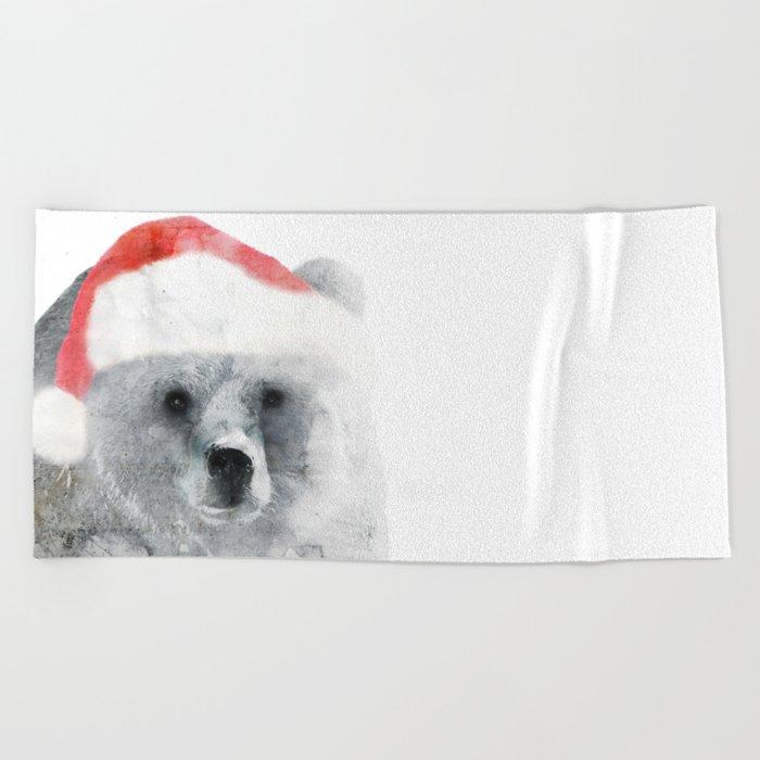 Christmas Teddy Bear Beach Towel