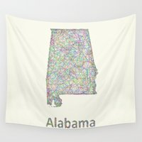alabama Wall Tapestries featuring Alabama map by David Zydd