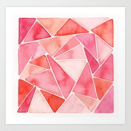 Watercolor Painting • Peachy Triangles Art Print