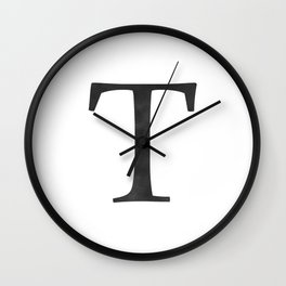 Letter T Initial Monogram Black and White Wall Clock