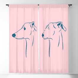 Italian Greyhound (Pink and Blue) Blackout Curtain