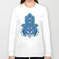 hamsa Long Sleeve T-shirts featuring Hamsa by Miss Chat*Z