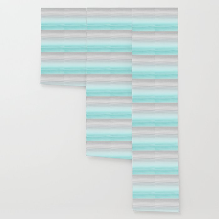 Touching Aqua Blue Gray Watercolor Abstract #1 #painting #decor #art #society6 Wallpaper