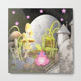 Whimsy Land with Pink Frog Metal Print