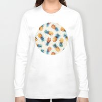 pineapples Long Sleeve T-shirts featuring Pineapples + Crystals  by micklyn