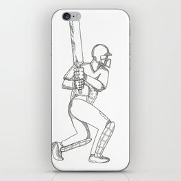 Cricket Batsman Batting Doodle Art iPhone Skin