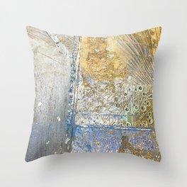 Aqua Metallic Wet Throw Pillow
