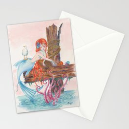 Mermaid on Dock Stationery Cards