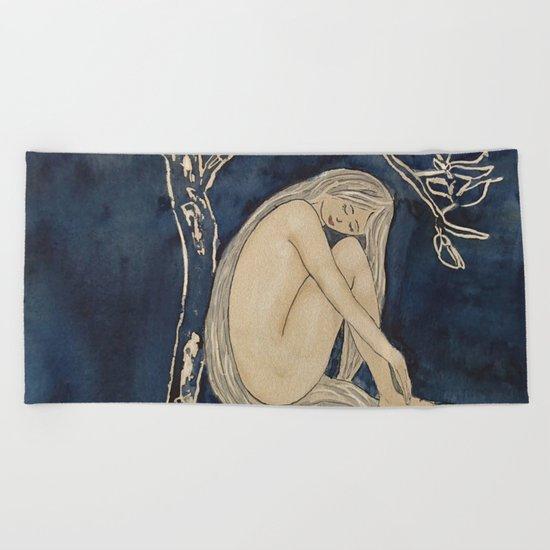 Girl sleeping under magnolia flowers Beach Towel