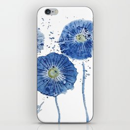 four blue dandelions watercolor iPhone Skin