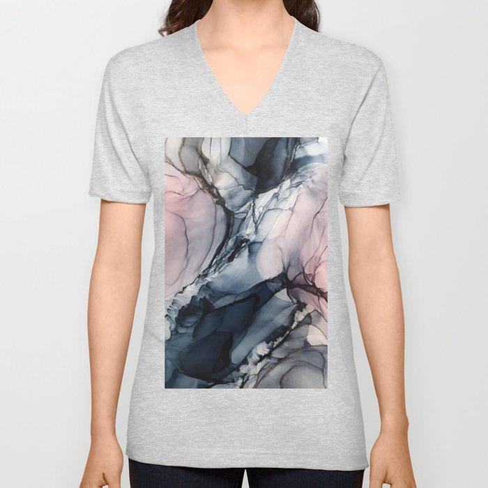 Blush, Navy and Gray Abstract Calm Clouds Unisex V-Ausschnitt